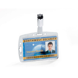 Durable Security Pass Holder Acrylic With Rotating Clip Pack Of 25
