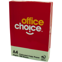 OFFICE CHOICE COPY PAPER Tinted A4 80gsm Green Ream of 500
