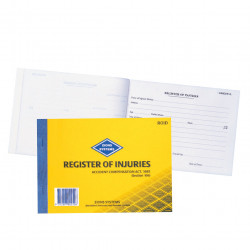 Zions ROID Workcover Register Of Injuries & First Aid Vic A4 Duplicate 25 Forms