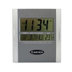 Carven Wall Clock Digital Display Silver
